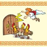 Scene from Trojan war, Greek warriors breaking the...
