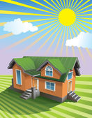 Small house under the sun on the grassy field use gradient fill vector illustration