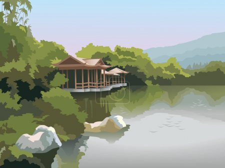 Illustration for Nature park scenery in spring, pagoda on the lake shore, photo-realistic vector illustration - Royalty Free Image