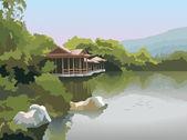 Pagoda on the lake shore vector