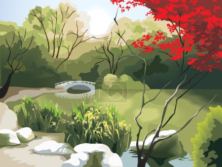 Illustration for Nature park scenery in spring, small bridge on the pond, China, photo-realistic vector illustration - Royalty Free Image