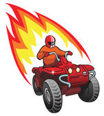 Quadrocycle rider on 4 wheel motorbike with flame behind vector illustration