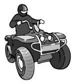 Quadrocycle rider on 4 wheel motorbike grayscale vector illustration