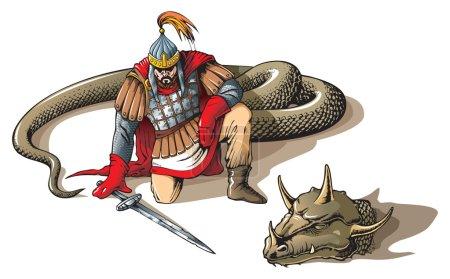 Illustration pour Guerrier vaincu serpent géant, caractères folkloriques et mythologiques russes, illustration vectorielle - image libre de droit