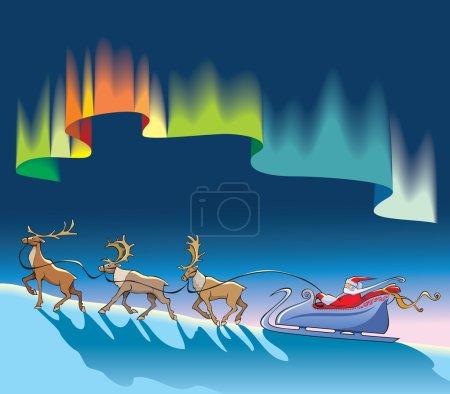 Santa Claus sleighing under northern lig