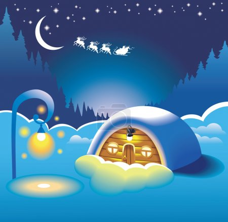Snow-covered hut