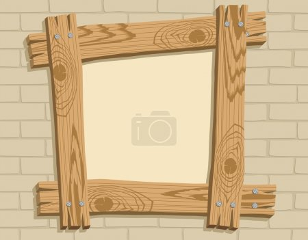 Wooden frame against a backdrop of brick