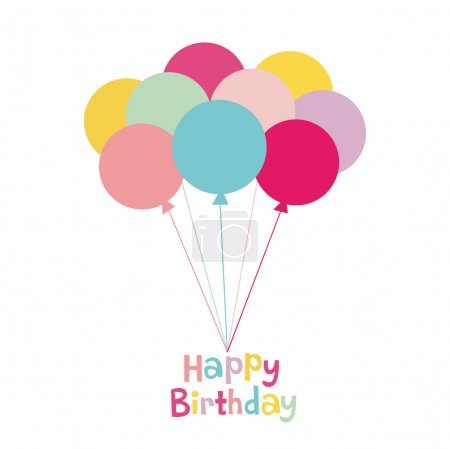Illustration for Balloon birthday card design - Royalty Free Image