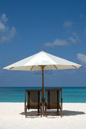 Chairs on the beach in Maldives