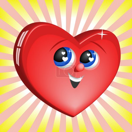 Illustration for The vector image of smiling heart against sun beams. - Royalty Free Image
