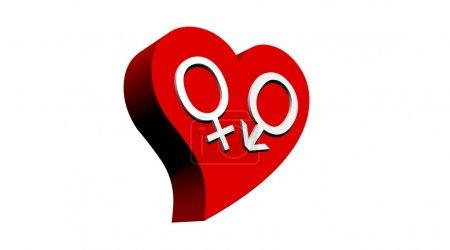 Heterosexual couple in red heart