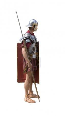 Photo pour Un soldat légionnaire romain isolé sur blanc - image libre de droit