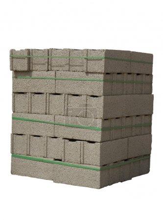 Photo for Stack of cinder blocks ( concrete masonry units ) isolated on white - Royalty Free Image
