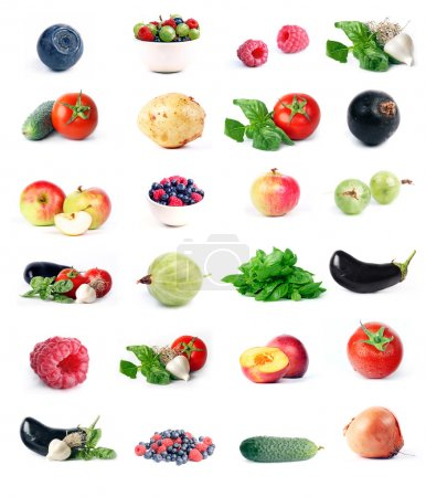 Photo for Vegetables, fruit & berry set. Isolated white. - Royalty Free Image