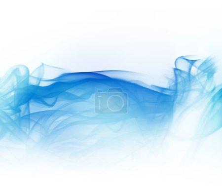 Photo pour Abstraite fumée bleue lumineuse isolée sur fond blanc - image libre de droit