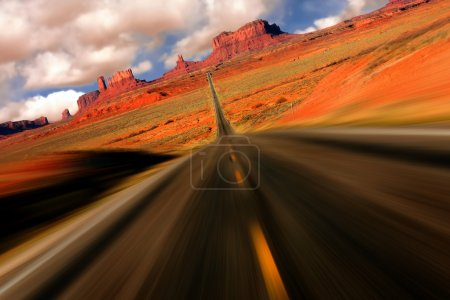 Photo for Dramatic Abstract View from Mile 13 on the Road to Monument Valley Arizona With Intentional Speed Blur - Royalty Free Image