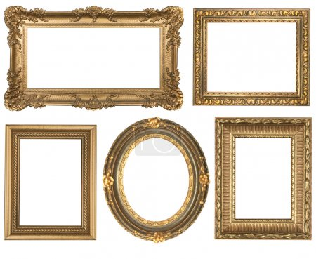 Photo for Decorative Gold Empty Oval and Square Wall Picture Frames Insert Your Own Design - Royalty Free Image