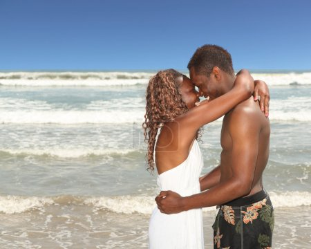 African American Couple on the Beach Hap