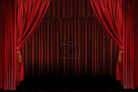 Horizontal Stage Drapes Open For Present