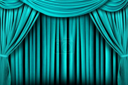 Abstract Teal Theatre Stage Drape Backgr