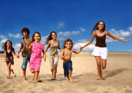 Running Children on the Beach