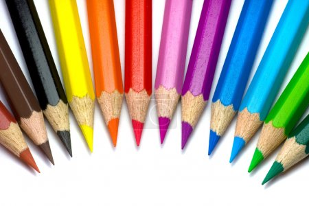 Photo pour Crayons de couleur placés côte à côte - image libre de droit