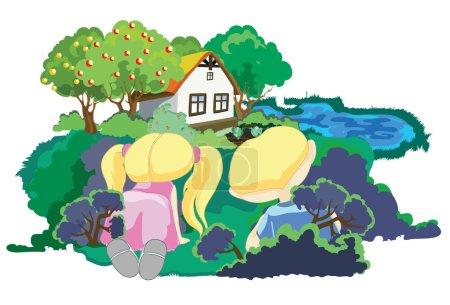 Children's games, warm summer day, Cartoon...