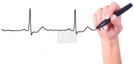 Hand drawing heart beat isolated on white backgrou...