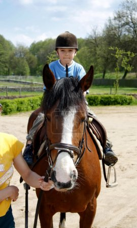 Photo for The young boy rides on a horse - Royalty Free Image