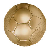 Detail zlaté fotbalu na bílém pozadí