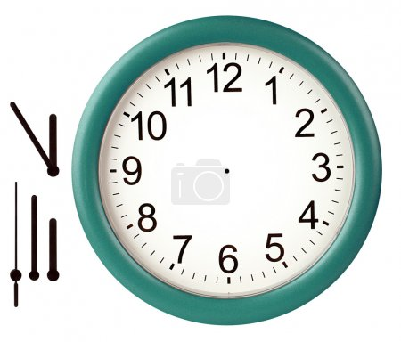 Photo for Green wall clock isolated on white background - Royalty Free Image