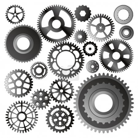 Illustration for Set of gear wheels - Royalty Free Image