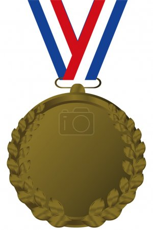 Illustration for Bronze medal with tricolor ribbon - Royalty Free Image