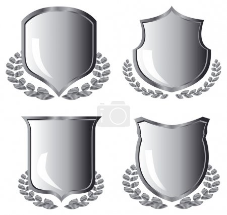 Silver shields with laurel wreath