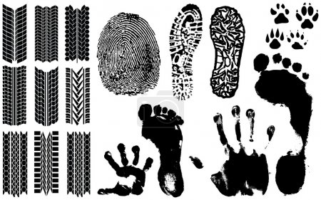 Illustration pour Une collection d'empreintes digitales vectorielles, empreintes de pas et plus - image libre de droit
