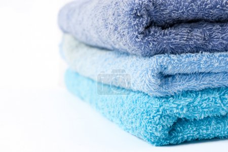 Blue towels stacked