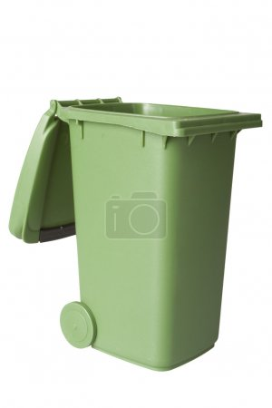 A green recycle bin isolated over white, shot in s...