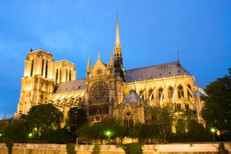 Notre Dame de Paris. Evening view.