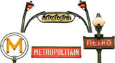 Set of metro signs in Paris, France