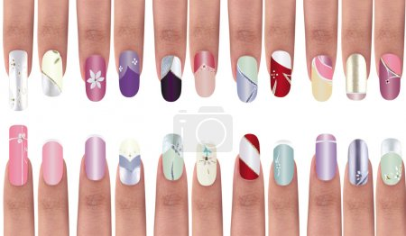 Photo for Colorful manicure polish design on acrylic surface material. - Royalty Free Image