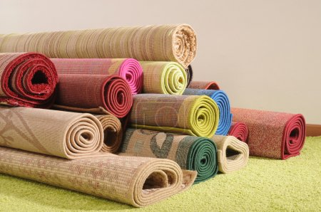 Photo for Rolled up carpets. - Royalty Free Image
