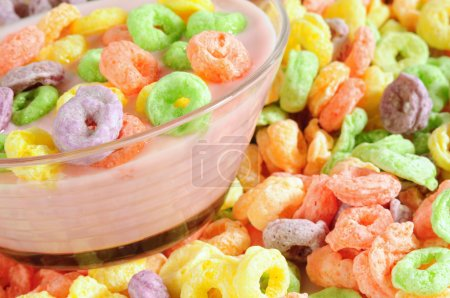 Photo for Colorful fruit cereal with milk or yogurt. - Royalty Free Image