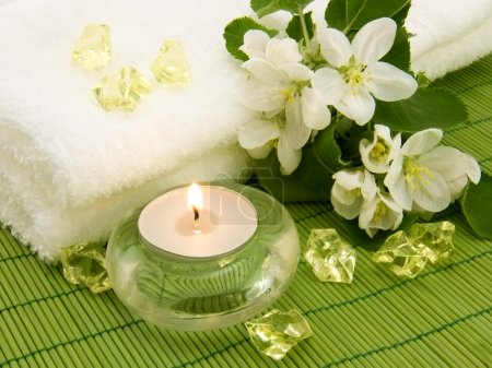 Photo for Body relax composition with aromatic candle and crystal - Royalty Free Image