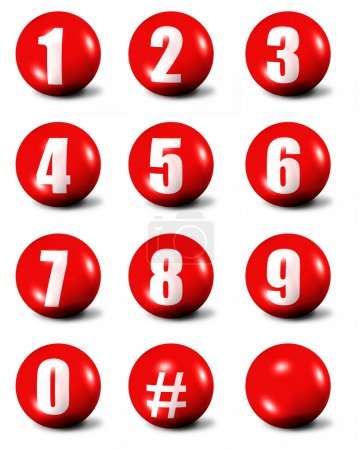 Photo for Collection of numbers - red 3D spheres - Royalty Free Image
