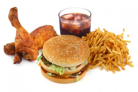 Photo for Fast food collection on on white background - Royalty Free Image