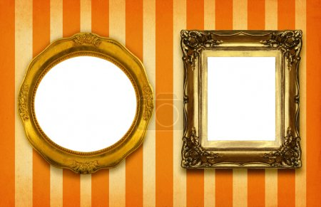 Two hollow gilded frames