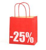Shopping bag con -25% segno su bianco