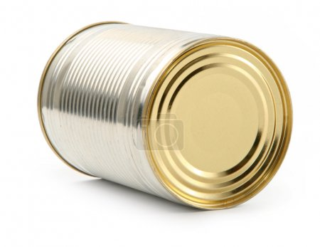Food tin can on white background, natural shadow u...