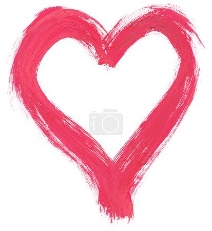 Photo pour Rose peint à la main en forme de cœur sur fond blanc pur, des traces visibles de coups de pinceau, les bords sont très rugueux et effilochée - image libre de droit