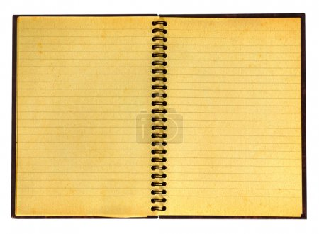 Yellowed open notebook